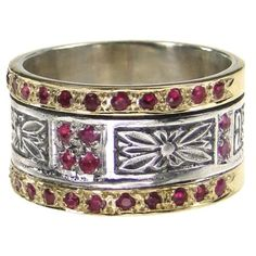 Decorated flower band ring in silver and gold with ruby. See a full variety of gold and silver rings with rubies at Athena's Treasures. Greek Jewelry, Pearl Jewelry, Gold Jewelry, Fine Jewelry, Jewellery, Antique Jewelry, Gold Band Ring, Wide Band Rings, Gold Bands