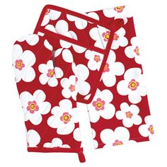 3 Piece Big Blooms Kitchen Set in Tango