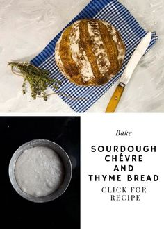 A sourdough bread filled with Chevre cheese, thyme, and a hint of rye. Serve this Sourdough chevre and thyme bread with tasty food.