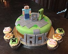 Minecraft cake idea - I like the cupcakes on this one - pigs and creeper faces. Sheep too.