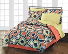 Diamond 100% Cotton Comforter Sham Bedskirt Set, Multi by Style Lounge. $59.99. Comforter features a geometric diamond print and reverses to solid coral. Twin/Twin XL Set includes: comforter, one standard sham, and bedskirt. Machine washable. Diamond Twin/Twin XL Comforter Set - Multi (NEW in Original Packaging)Freshen up your bedroom décor with the contemporary styling of this vivid Diamond comforter set! The comforter and sham feature an all over geometric diamond prin...