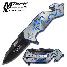 "Grey "" Dragon Strike "" MTech Rescue Folding Knife - 3 1/2 Inch Closed"