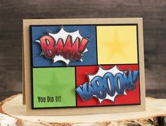 February 2015 NEW RELEASE Showcase Day 2! Card by Laurie Schmidlin featuring Kaboom clear stamp set and Kaboom Die.  Shop here - http://www.waltzingmousestamps.com/     Waltzingmouse Stamps Blog - http://waltzingmouse.blogspot.ie/ #wms #waltzingmouse #superhero #kaboom