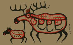Norval Morrisseau (Anishinaabe) - Moose and Calf (Toronto, ON)