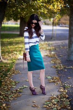 Pink Peonies by Rach Parcell - green pencil skirt