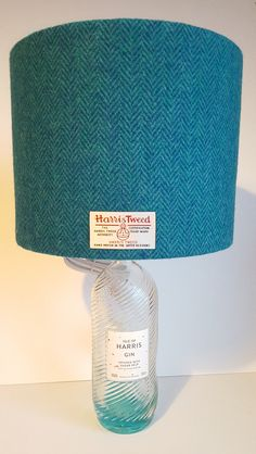Gin Bottle Lamp, complete lamp including bottle, 25cm Dia Harris Tweed lampshade and push in bottle adaptor,  Scottish Gift by LucyWagtail on Etsy