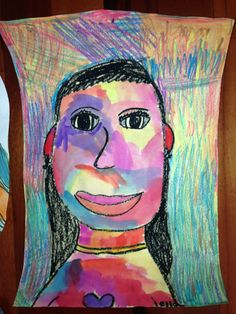 Check out this colorful, mixed-medium artwork of a girl, made by Ella, 7 years old • Art My Kid Made Artist Of The Day on 02/15/2013 #kidart
