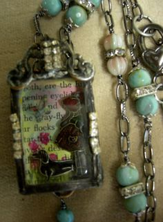 Soldered Glass Assemblage Collage Box Necklace by Vintagearts, $105.00