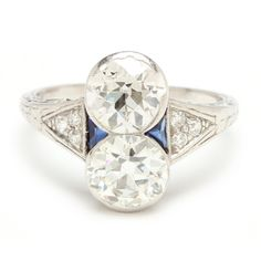 Art Deco Platinum Two Stone Diamond and Sapphire Ring Sold $10,000
