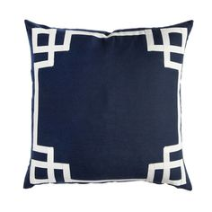 """Navy Deco Pillow, linen cotton, 3/4 inch ribbon trim border, insert not included, 20"""" sq, $55 (other sizes available)"""