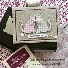 Gingham Punch Cats Anniversary Card - Aromas and Art