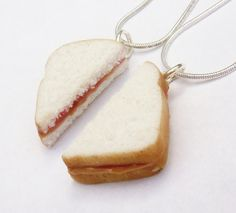 strawberry jam peanut butter and jelly sandwich best friend necklaces polymer clay bff. $19.25, via Etsy.