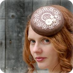 Small Fascinator Hat Crochet Doily Coffee Brown Vintage Buttons