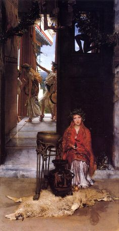 The Way to the Temple, 1882 by Sir Lawrence Alma-Tadema. Royal Academy of Arts (RA), London, UK Lawrence Alma Tadema, Your Paintings, Beautiful Paintings, Architecture Antique, Albrecht Dürer, Academic Art, Royal Academy Of Arts, Dutch Painters, Pre Raphaelite