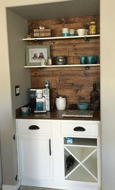 Purchased inexpensive cabinets from Home Depot ready to paint.  Used Graco spray gun to paint cabinets. Cut pine boards and staggered on back wall. Gave them a reclaimed look using dark walnut oil and walnut stain. Used pine board for table top.  Used chalk paint for top of shelves and left bottom stained. Held up by iron plumbing. Customized cabinets to have pull out trash can and wine X holder. Benjamin Moore Advance for paint is great for wood. Hardware from San Diego Hardware. Learn how…
