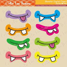 Monsters Clipart, Monsters Party clip art (CG023), Monster Mouth, Monster Eyes includes 39 cute graphics. Graphics are PERFECT for the Scrapbooking, Cards Design, Stickers, Paper Crafts, Web Design, T-shirt Design...More and more! Whatever your want! [Details] ‧This is a digital
