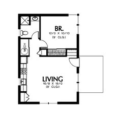 Modern Style House Plan - 1 Beds 1 Baths 600 Sq/Ft Plan #48-473 Main Floor Plan - Houseplans.com Contemporary House Plans, Modern House Plans, Tiny House Plans, 20x30 House Plans, Garage Apartment Plans, Garage Apartments, Guest Cabin, Cabin Floor Plans, In Law Suite