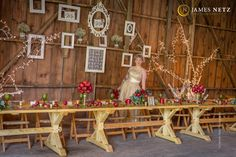 Ideas for your country barn wedding inside set-up of head table and fall theme wedding - Image by JNP