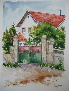 Casa en Cercedilla. Watercolor - Acuarela by Isabel Mariasg.