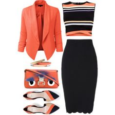 Coral Blazer and shirt... not the black skirt tho.