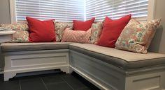 """Custom window seat/bench cushion in Sunbrella Sailcloth Seagull 32000-0023 54"""" Fabric."""