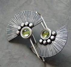 Sterling Silver Fun Earrings with Peridot Z2 by Kailajewellery, £45.00 #SterlingSilverEarrings