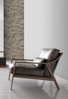 Modern walnut and leather lounge chair Walnut Furniture, Sofa Furniture, Modern Furniture, Furniture Design, Business Furniture, Outdoor Furniture, Apartment Furniture, Design Ikea, Mid Century Furniture