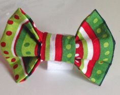 Red & Green Christmas Collar Bow Tie for Dogs and Cats