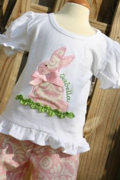 Girls ruffled tee and matching pants with bunny by gigibabies, $45.00