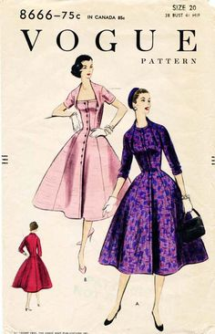 Vogue 8666 Vintage 1950s Dress Pattern