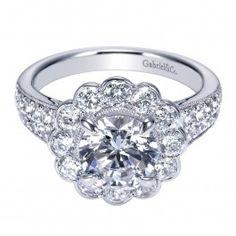 Amazing White Gold Floral Halo Diamond Engagement Ring @ Wedding Day Diamonds