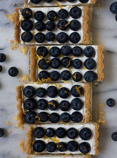 Lebneh Honey Blueberry Tart with an Almond Cardamom Crust | www.acozykitchen.com