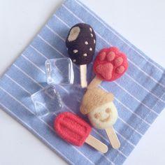 Handmade needle felted felting cute project ice cream popsicle key cha   Feltify