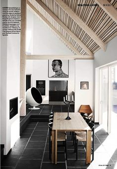 wood beams and black floors #saltstudionyc http://decdesignecasa.blogspot.it/