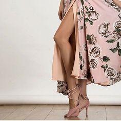 Choies Women's V-neck Rose Print Strappy Backless Split Cami Strap Maxi Dress