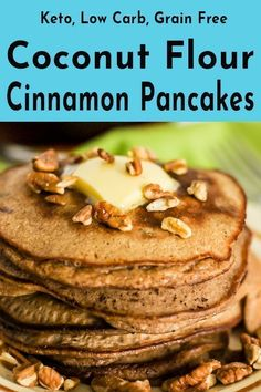 These keto cinnamon pecan coconut flour pancakes drenched in sugar free maple syrup create the ultimate low carb breakfast item. a combination that puts you Pecan Pancakes, Coconut Flour Pancakes, Coconut Flour Recipes, Pancakes Easy, Quick Keto Breakfast, Breakfast Items, Breakfast Recipes, Breakfast Cereal, Breakfast Gravy