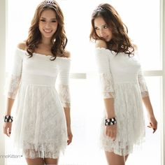 bef7d17d2716 Korea Women Off Shoulder Layer Lace Top Mini Dresses (from ebay) Tunic Tops