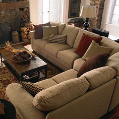 HGTV HOME Custom Upholstery Large Curved Corner Sectional bassett furniture ^ New Living Room, Small Living Rooms, Home And Living, Living Room Designs, Living Room Furniture, Home Furniture, Living Room Decor, Living Spaces, Couches For Small Spaces