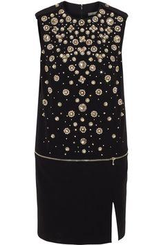 ALEXANDER MCQUEEN Crystal-embellished crepe mini dress