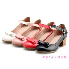 Lolita Princess shoes ◆ cosplay shoes size yard stumbled buckle shoes ◆ bow with thick shoes ◆ dress shoes - Taobao $13