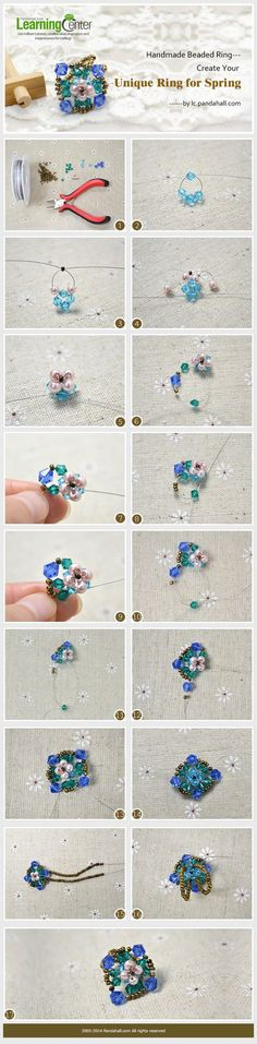 Handmade Beaded Ring---Create Your Unique Ring for Spring Beads Jewelry, Diy Jewelry, Jewelery, Beaded Rings, Beaded Necklace, Beaded Bracelets, Diy Rings, Unique Rings, Handmade Rings