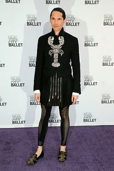 News Photo : Di Mondo attends the New York City Ballet 2014 wearing Lola the Lobster on his lapels.