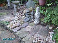 slab and stone on rockery
