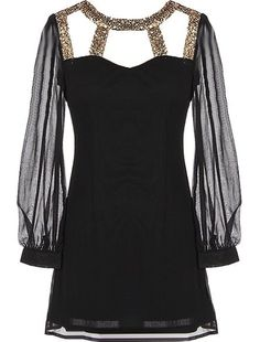 Glamorous Life Dress: Features a glittering gold gladiator decolletage with chic cutouts for subtle exposure, illusion sweetheart neckline, long sheer chiffon sleeves, and a sexy rear V-design with centered zip closure to finish.
