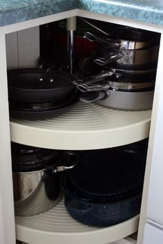 I used to keep our pots and pans in a typical kitchen cabinet, however, I found they were nearly impossible to get in and out without wanting to quit cooking before I even started, so they found a new home in the spinning lazy susan, which makes them SO much easier to find and grab! There is never harm in switching things up when something isn't working for you!
