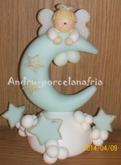 Andru Porcelana Fría: Adorno Bautismo Biscuit, Boy Baptism, Fondant Toppers, Clay Figures, Fimo Clay, Pasta Flexible, 1st Birthdays, Girl Cakes, Cold Porcelain