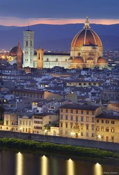 An undeniable sight of beauty glowing in gold and silver under the violet shade of a drowsy sky unprepared to wake up. There from a far brightly glow the indescribable master piece of the 1200s, the Basilica di Santa Maria del Fiore. Firenze, may we be there someday.