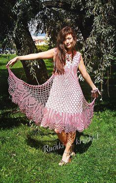 """Handmade exclusive crochet dress """"Violet Dreamcatcher"""" in cotton"""