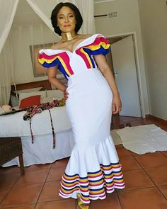 Image may contain: 1 person, standing Venda Traditional Attire, Sepedi Traditional Dresses, African Traditional Wedding Dress, African Fashion Traditional, Traditional Weddings, Xhosa Attire, African Attire, African Wear, Latest African Fashion Dresses