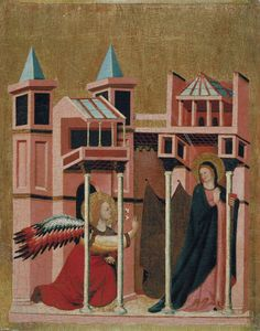 Master of the Cini Madonna Active in Rimini, first third of the 14th century  Annunciation Circa 1330 Tempera and gold leaf on wood, 50 x 41.4 x 4 cm  © Museu Nacional d'Art de Catalunya